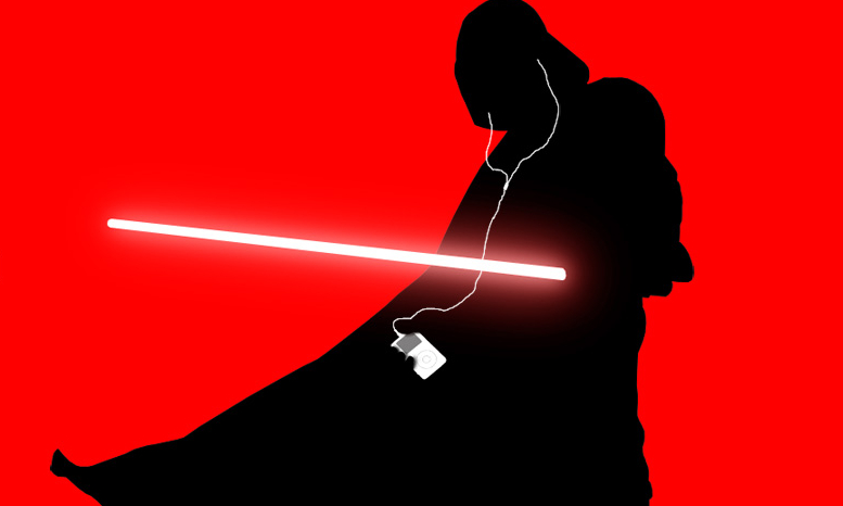 Darth Vader Streaming (Source: iPod ad by hitokirivader, found at: http://www.moddb.com/groups/501st-legion-vaders-fist-fan-group/images/darth-vader-ipod)