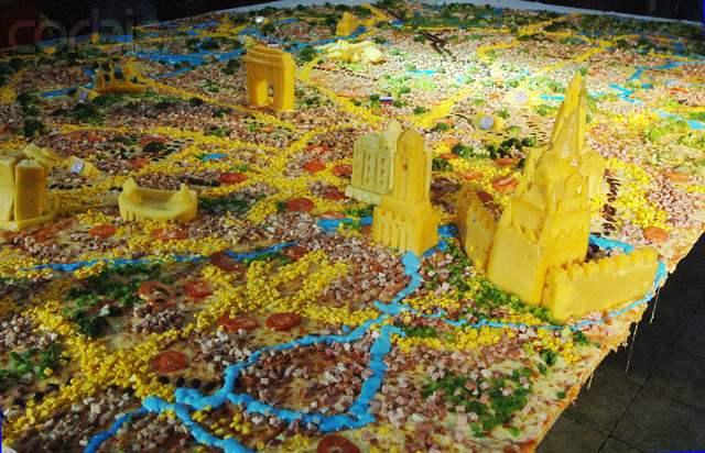 Yes, this is exactly what you think it is: a pizza map of Moscow. Let that sink. (Image by © Saverkin Alexsander/ITAR-TASS/Corbis)